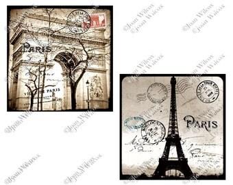Set of 2 TTV Photos Arc de Triomphe & Eiffel Tower Paris, France Art Photo Prints