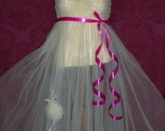 Antique  Net Tulle Dress Slip Nightgown