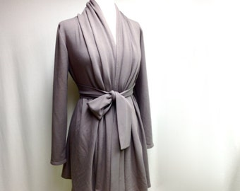 Long cardigan with shawl neckline, organic cotton tunic, handmade clothes, made in Canada