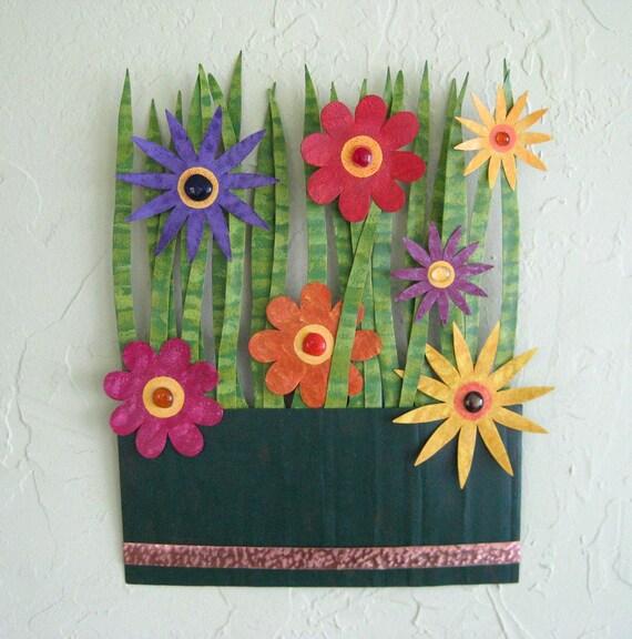 Kitchen Metal Wall Art: Flower Box For The Kitchen Metal Wall Sculpture Art Dark Green