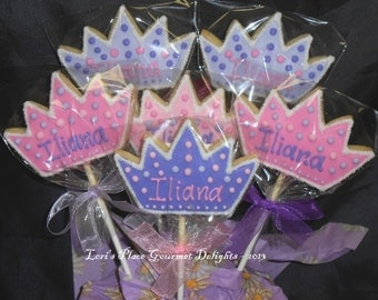 Crown Cookie Pops - Personalized Crown cookie Pops - 12 Cookie Pops