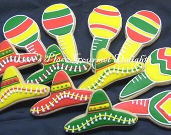 Fiesta Fiesta - Maraca and Sombrero Decorated Cookie Favors - 1 Dozen
