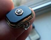 Antique Onyx and Diamond 14k Ring.