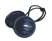 Navy Blue Elastic Hair Tie - Vintage Glass Buttons Ponytail Holder, Navy Stripes Hair Accessory