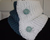 Teal and White Chunky Hand Knitted Cowl Neck Warmer, Hand Knit Scarf, White and Teal Scarf, Neckwarmer, Chunky Neck Warmer, Muffler, Scarf