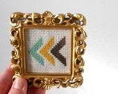 multi color chevron . finished and framed cross stitch