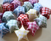 20 Gingham Origami Lucky Stars - Cute Summer Wishing Stars - Favors, Confetti, Table Decor, Gift Enclosure