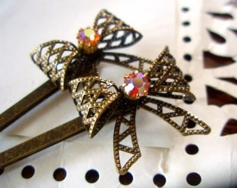 Hair Pins - Swarovski and Antiqued Brass Bow Bobby Pins - Vintage-Style Boho-Chic Hair Accessories
