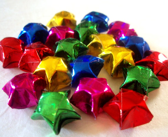20 Holographic Rainbow Origami Lucky Stars - Wishing Stars - Confetti Party Favor Gift Enclosure Table Decor