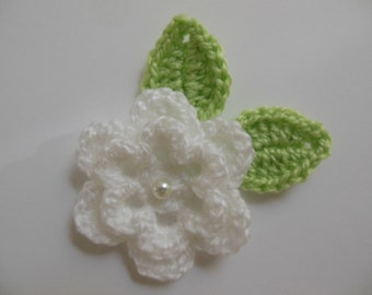White Crocheted Flower with Leaves - Acrylic Yarn - Crocheted Embellishment - Crocheted Applique
