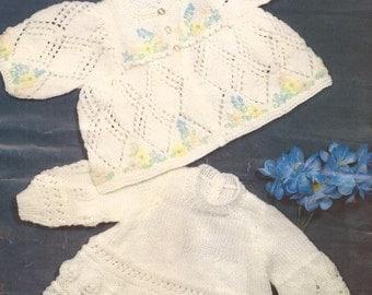 "PDF Knitting Pattern Baby Matinee Coat and Matching Angel Top 16-18"" (X289)"