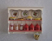 Dollhouse Wall shelf,filled, country style shelf, filled shelf, twelfth scale dollhouse miniature