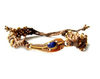 Brown Macrame Bracelet with Semi-Precious Stones and Brass Feather Findings - Many Stone Options