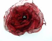Wedding Hair Flower, Dark Red Organza Flower, Maternity Sash, Bridal Sash, Dance Recital, Hair Clip, Pin Brooch
