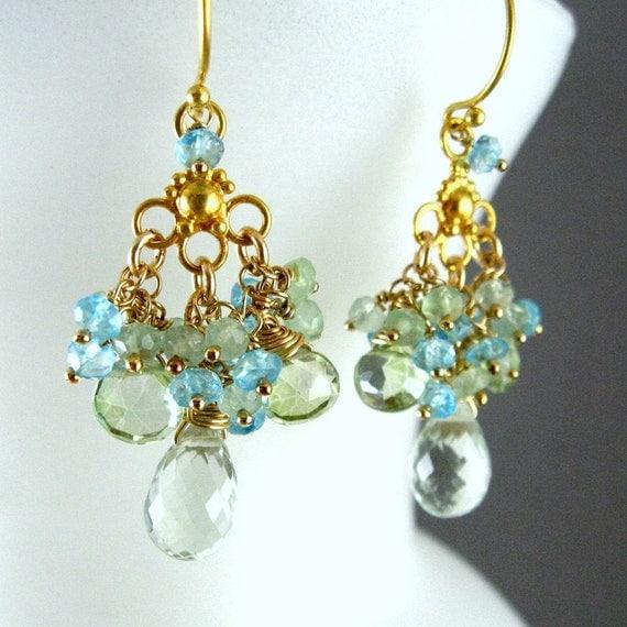 green chandelier earrings green amethyst prehnite apatite