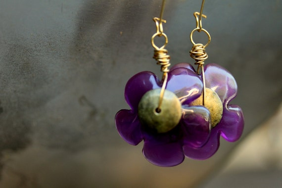"Purple Flower Earrings - ""Grape Dream"""