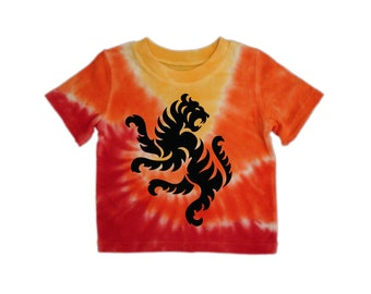 Tiger Baby - Tye Dye Red-Yellow-Orange T-shirt - 3T or 4T (toddler)