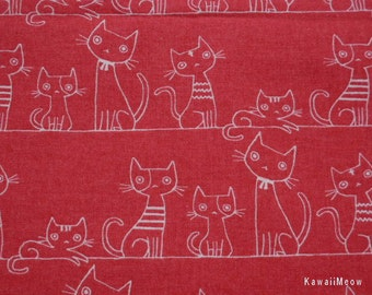 "Japanese Fabric - KOKKA Cotton/Linen Flannel Cat's Family on Red - Half Yard / 108cm/42.5""W x 48cm/19""L (i130710)"