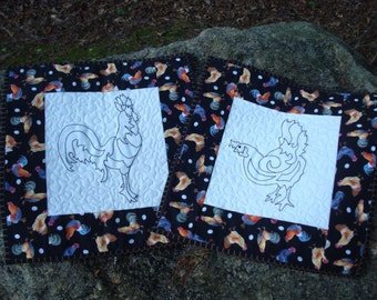 Chicken and Rooster Quilted Fiber Art Wallhanging