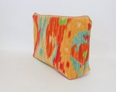 Large Ikat Pouch Cosmetic Bag Toiletry Bag Pencil Case