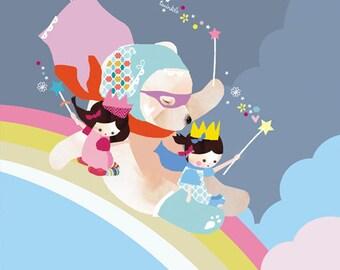 LARGE Childrens bright bedroom rainbow print ' Chasing Rainbows'