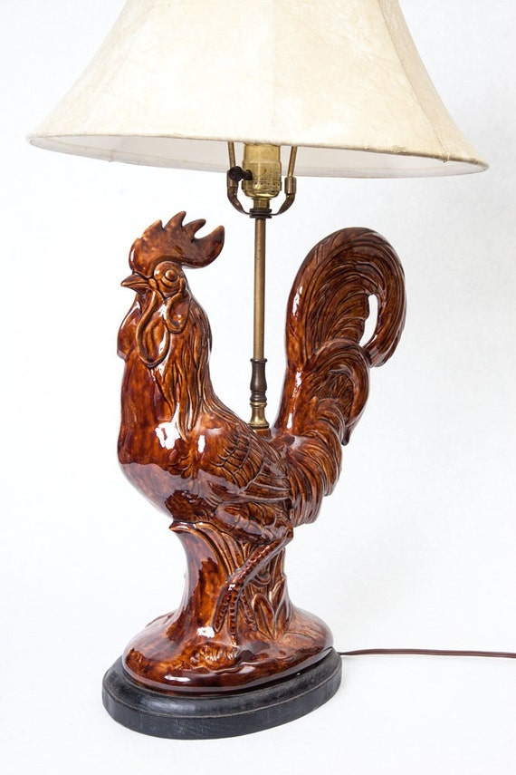 Vintage Rooster Lamp Country Home Decor By Thevintagerhino