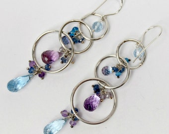 Blue Hoop Earrings Sterling Silver Hoop Earring Blue Gemstone Chandelier Hoop Beaded Hoop Boho Chandelier Blue Topaz Long Dangle Earrings
