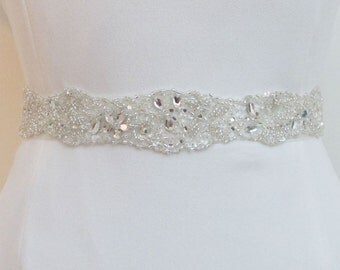 Crystal Beaded Bridal Belts, Wedding Sash belt, Bridal SashBelt, Bridal Crystal Trim White or Ivory