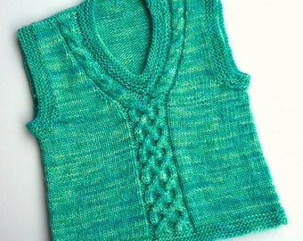 Hand knitted child's sweater vest, tank top, sleeveless green blue pullover,3 yrs, 4 yrs, wool clothing, boys, girls, 3-4yrs. Cabled detail.