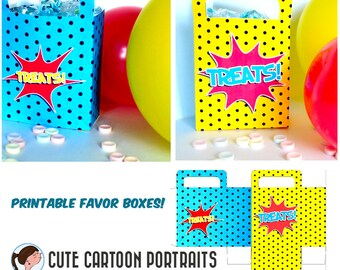 Instant Download Superhero Loot Bag Favor Treat Box super hero birthday party