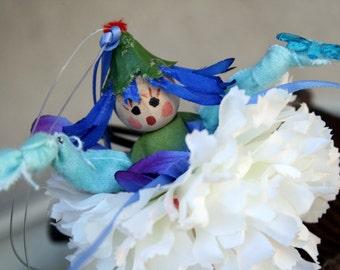 Flower Fairy Doll Kaylee, Pixie Flower Fairy Ornament, Fairy Gift Tag, Bride Maid Favor