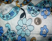1960s Groovy Blue Floral & Paisley Dress Fabric - 2 Yards