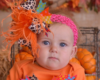 Fall Thanksgiving Orange Brown Green Yelow Pink and Leopard Over The Top Funky Birthday Boutique Hair Bow on matching Headband