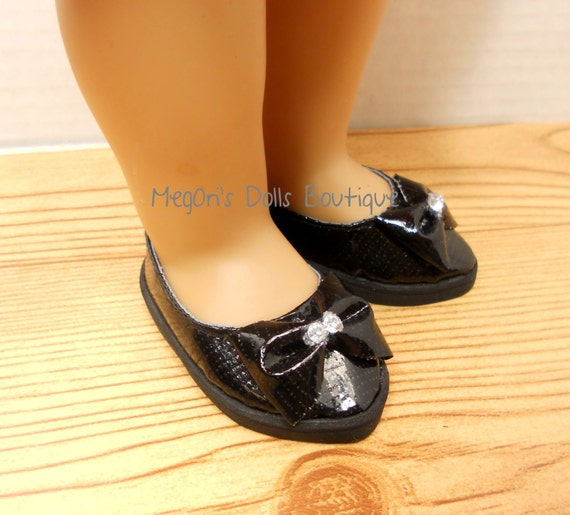 black pointed toe doll shoes for 18 dolls by megorisdolls