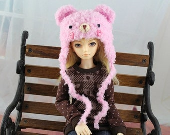 Pink Bear Hat for Minifee BJD, 1/4 Doll, MNF