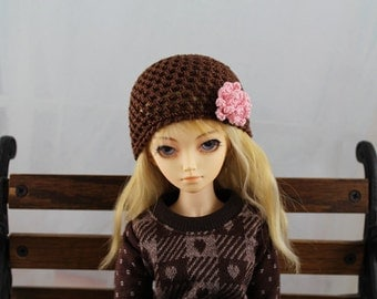 Brown Crochet hat for MSD BJD, 1/4 Dollfie, Minifee
