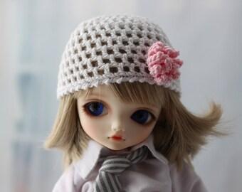 White Crochet Hat for Yo SD BJD, Dolls Like LittleFee