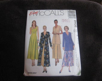Easy McCalls 9408 - Misses Sleeveless Dress and Duster or Jacket.  Sizes 8 - 10 - 12