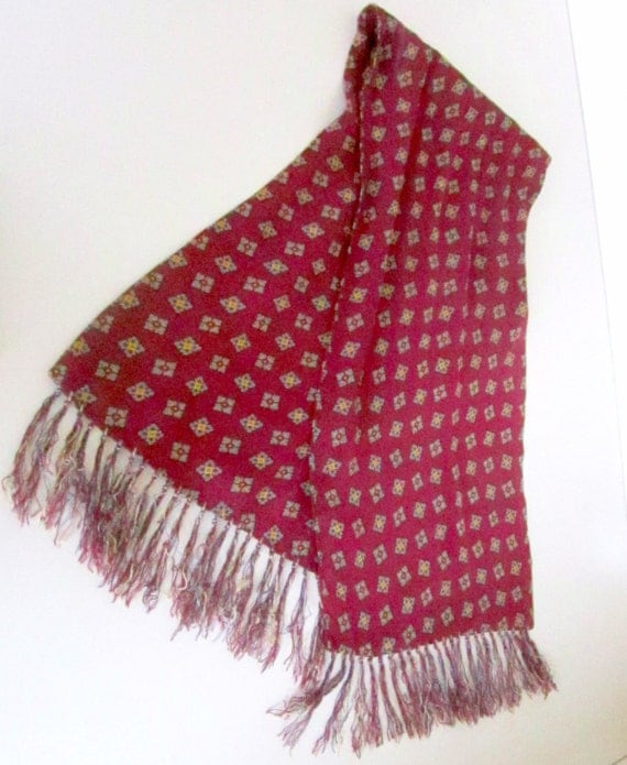 Vintage Ascot Mens Scarf With Fringe Art Deco 1930s Rayon