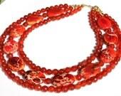 Orange Carnelian and Agate Semi precious Stone Necklace