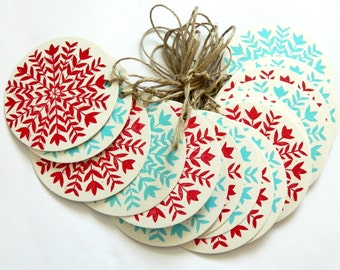 linocut/ letterpress red and aqua Christmas garland