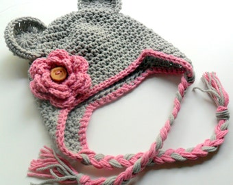 Crochet Hat, Baby Girl Hat, Girls Cotton Crochet Hat, Ear Flap Beanie Hat with Ears and Ties, Toddler Crochet Hat, Winter Hat, MADE TO ORDER