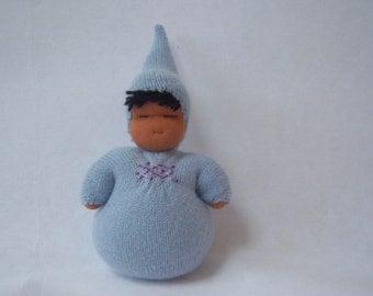 Tiny Sweetheart Baby - Waldorf Doll - Baby Blue