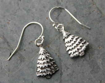 Handmade fine silver Christmas tree earrings -pure silver pine trees on sterling silver hooks - free shipping in USA