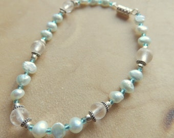 Turquoise Freshwater Pearls with Crystal Bracelet, Turquoise and White Bracelet, Handcrafted Bracelet, Pearl Bracelet