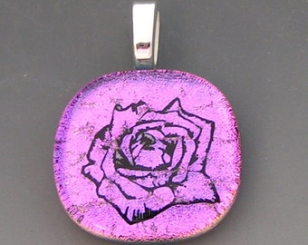 Pink Rose Flower Pendant Dichroic Fused Glass Jewelry w/ cord