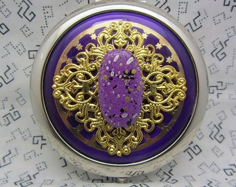 Compact Mirror Purple Pizzazz Comes With Protective Pouch