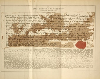 Antique Print showing an Ancient IOU. Letters Obligatory by the Black Prince. From 1800s