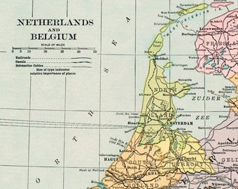 Antique Map of Netherlands and Belgium. From 1906 Atlas