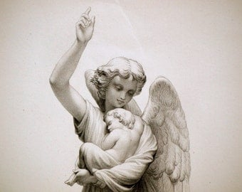 Antique Engraving of the Guiding Angel. Steel Engraving Published in 1880